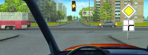 Вы намерены продолжить движение прямо. Каковы Ваши действия при желтом мигающем сигнале светофора?