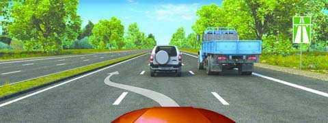 Разрешено ли Вам, управляя грузовым автомобилем, совершить опережение в данной ситуации?